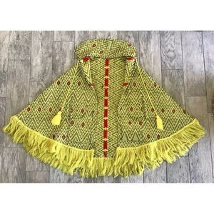 Vintage Boho Poncho Hooded Gypsy Cape